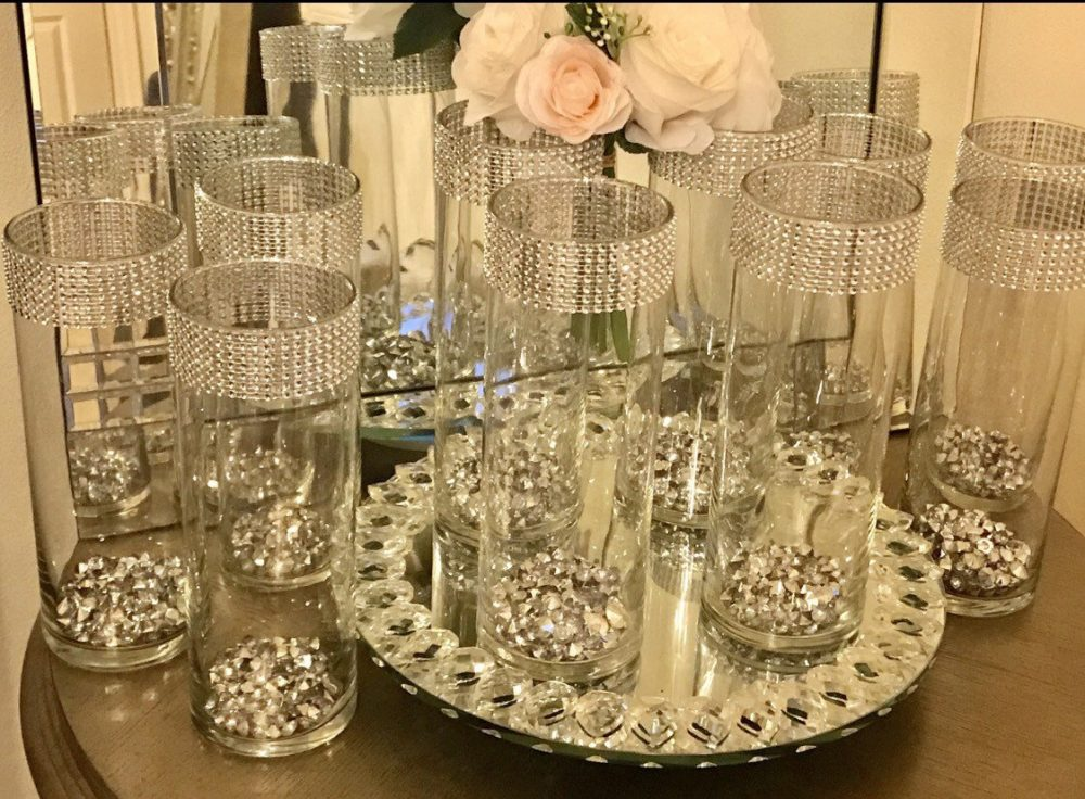 Centerpieces, Vases 10 Tall Cylinder With Silver Beads, Each Vase Is Decorated Rhinestone Wrap, Wedding Centerpieces