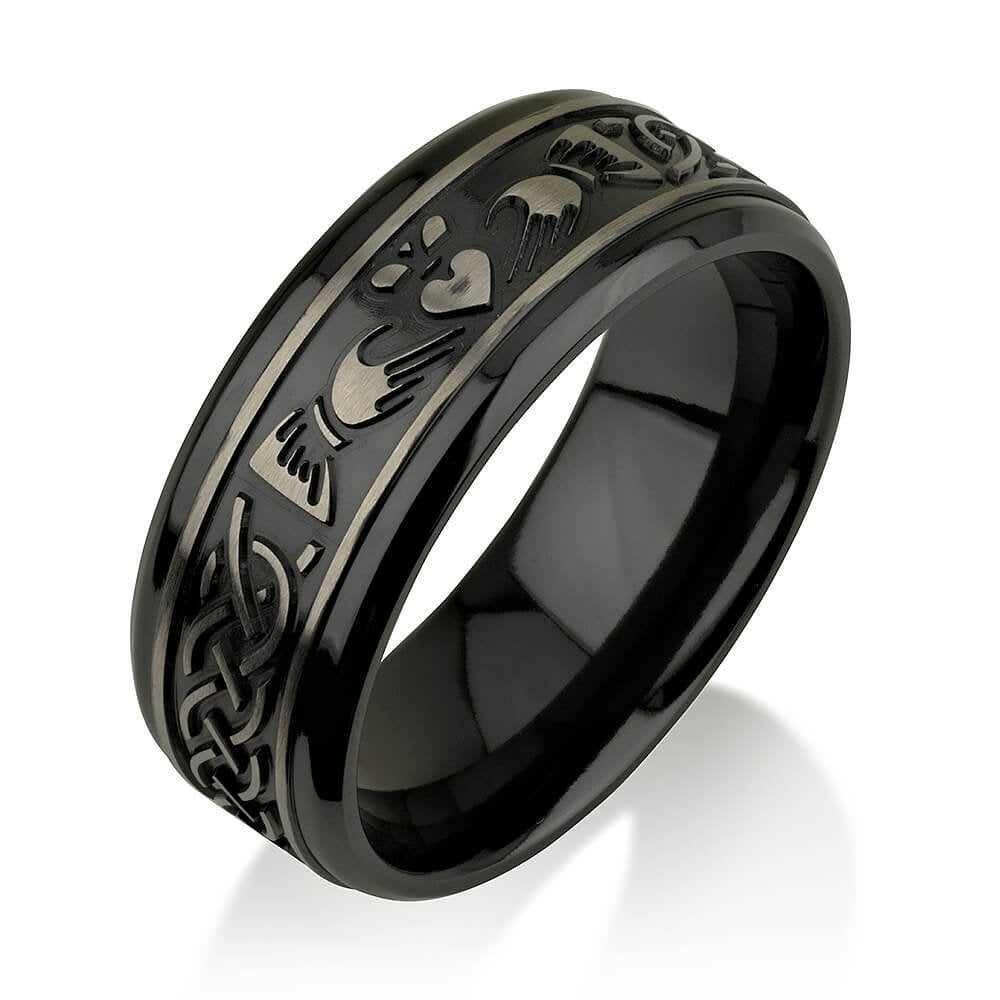 Black Zirconium Celtic Irish Claddagh Ring Hands Clasping Heart Band Carved Ring, Wedding