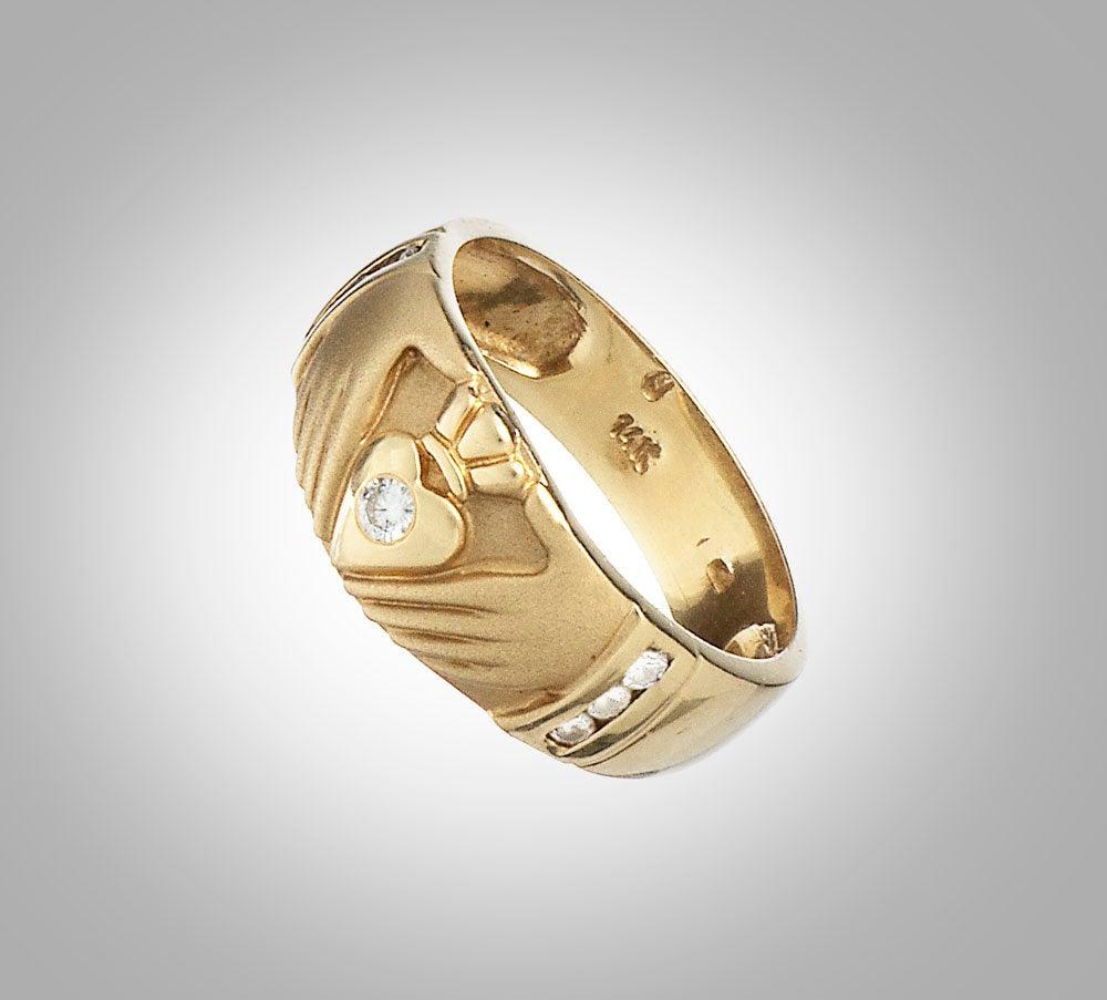 14K & Diamonds Claddagh Band Ring
