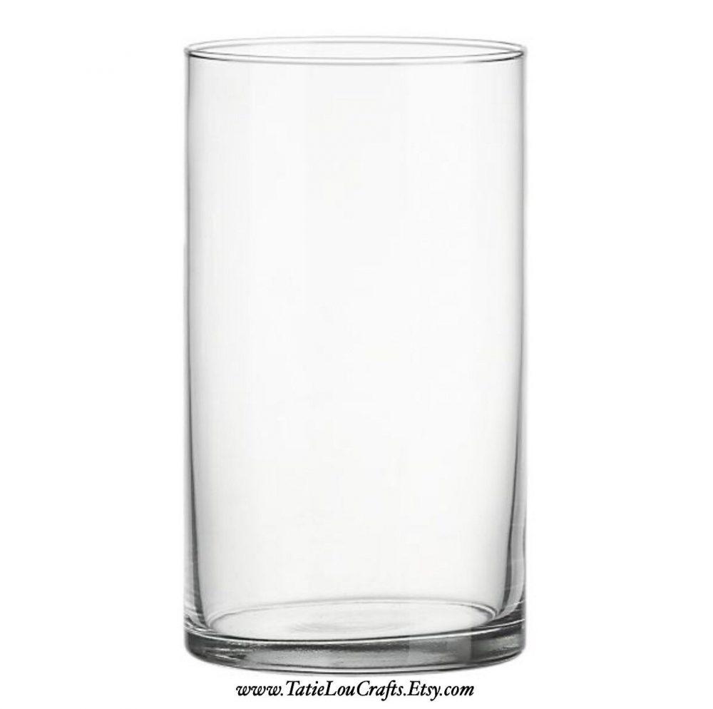 """7"""" Tall Glass Cylinder Vase, Wedding Centerpiece, Home Decor, Flower Candle Holder, Baptism Vase"""