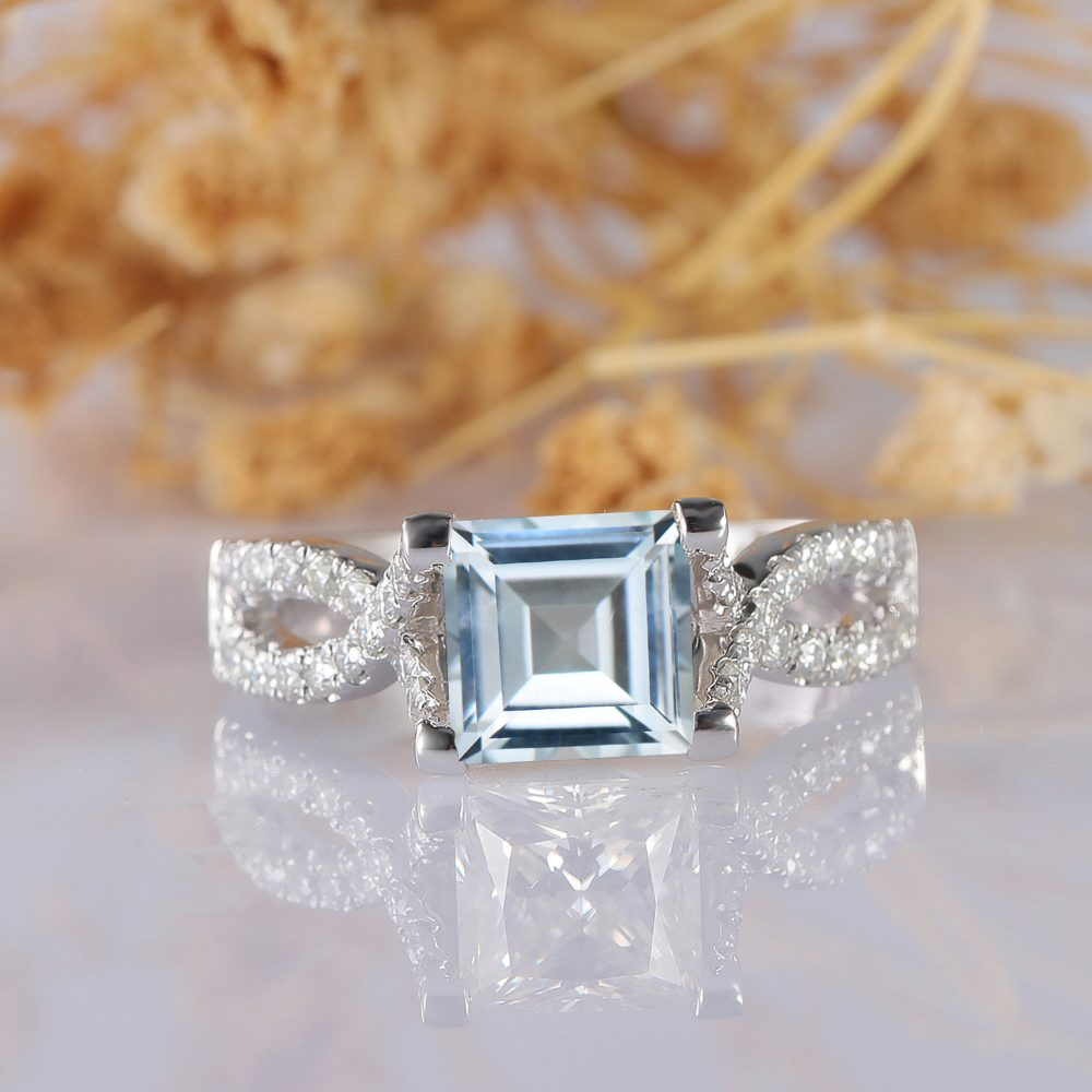 Aquamarine Ring, Cross Band Princess Cut 6.5mm 14K White Gold Accents Engagement Wedding Promise Stackable Ring