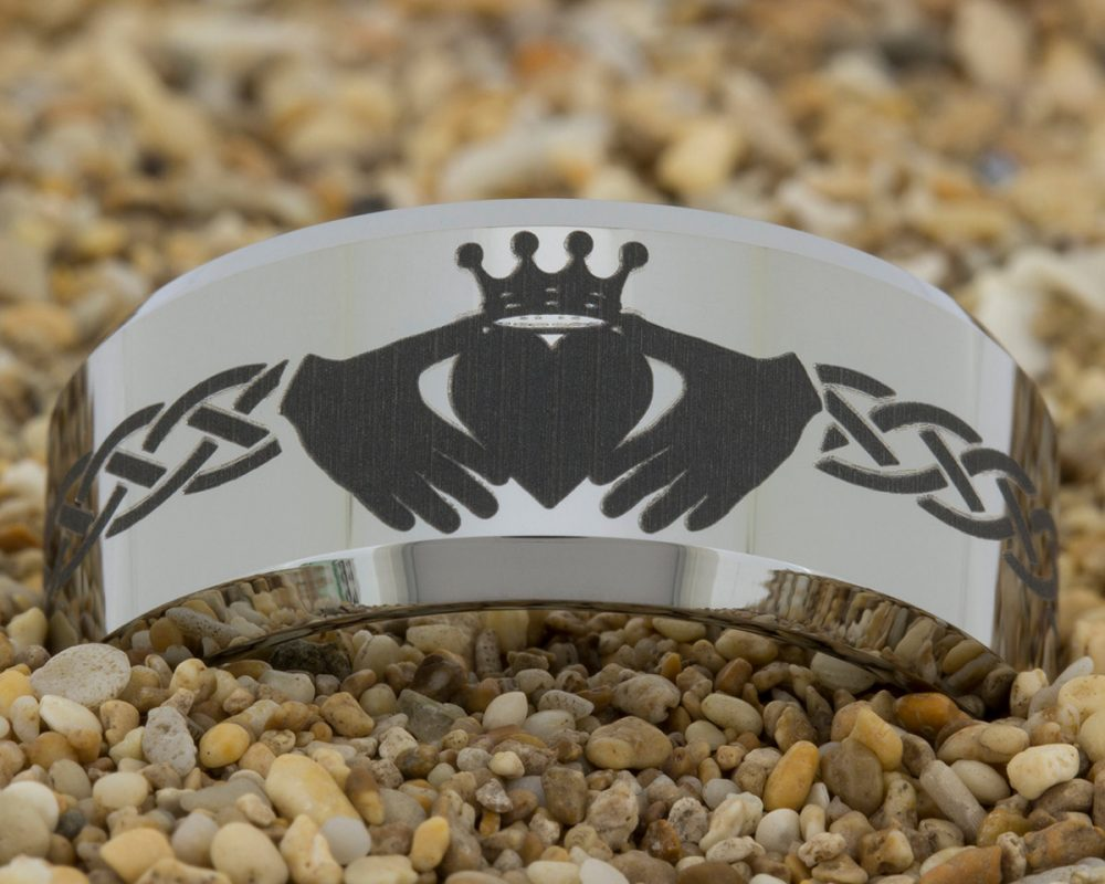 10mm Beveled Tungsten Carbide Band Celtic Claddagh Design Ring-Free Inside Engraving & Free Us Shipping