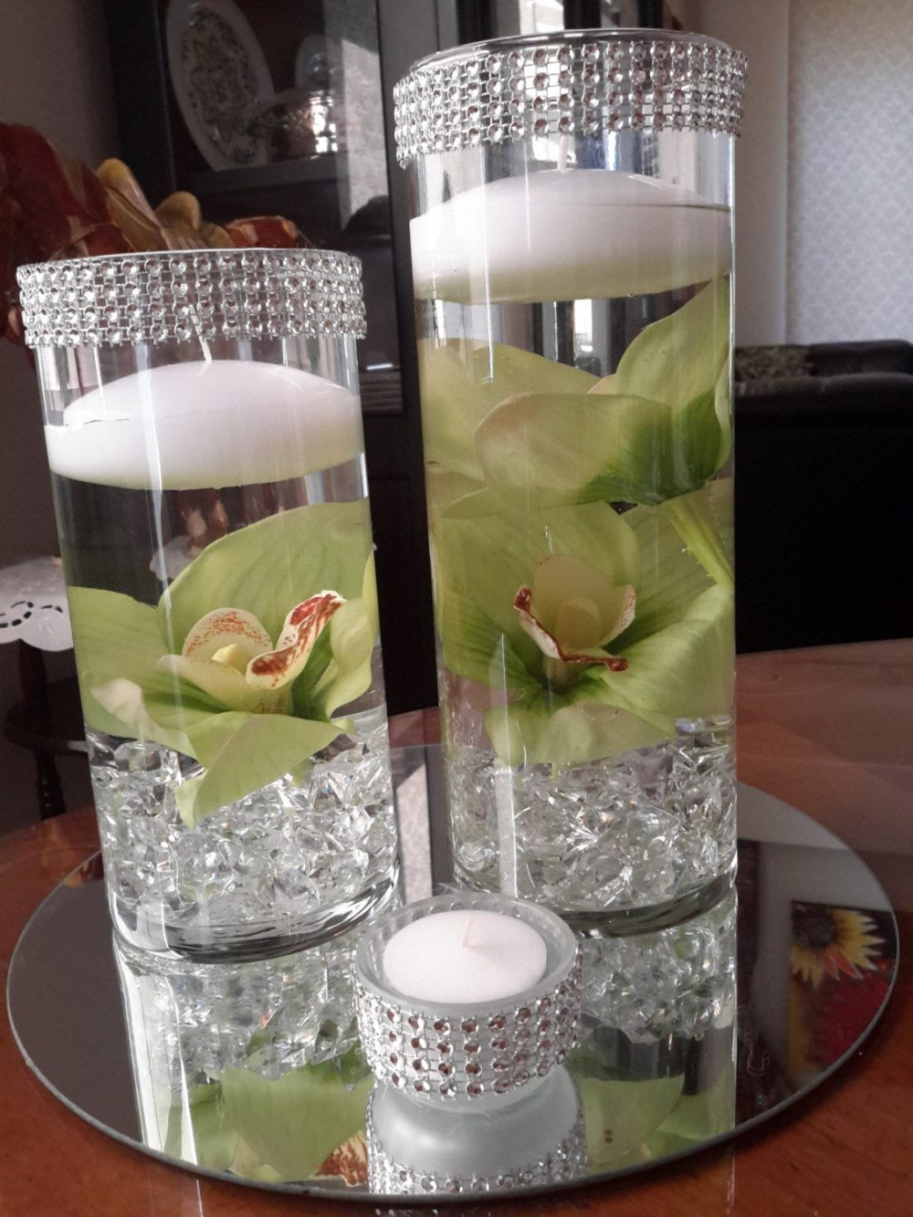 Floating Candle Set-Orchid Centerpiece-Bling Cylinder Vase - Party-Anniversary-Birthday-Engagement-Bridal Shower
