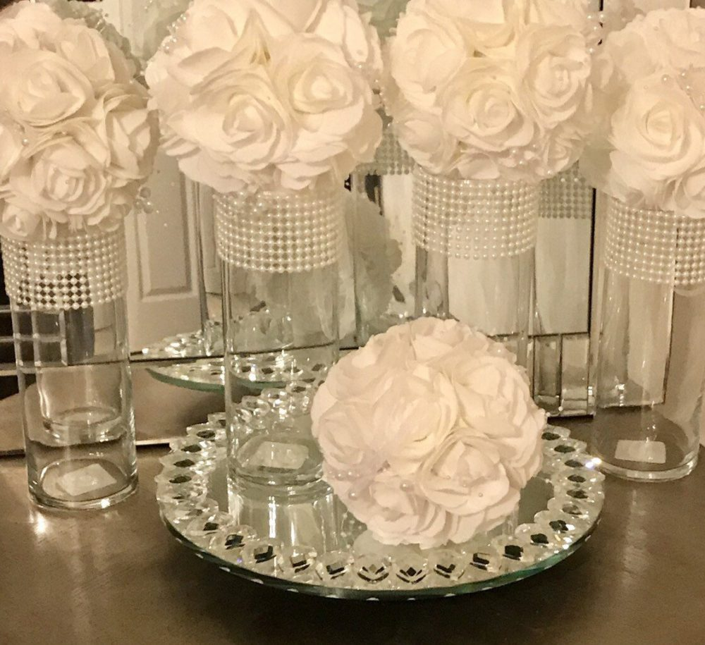 Centerpieces 6 Tall Cylinder Vases, Each Vase Is Beautifully Decorated With Beautiful White Pearls, Wedding Decor, Centerpieces