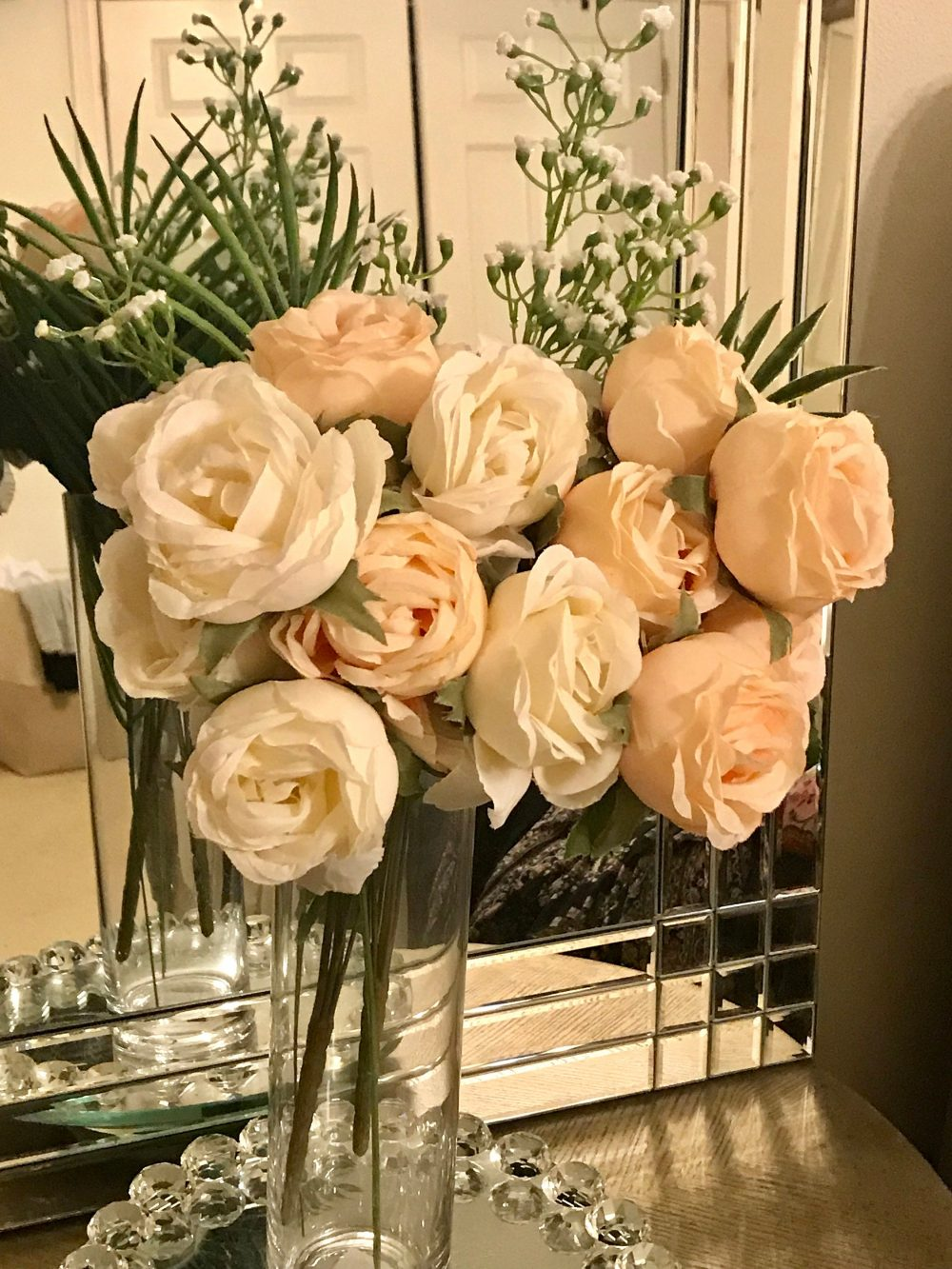Beautiful Tall Floral Arrangement Centerpiece. Pale Peach & Off White Roses Elegantly Arranged in A Cylinder Glass Vase Home Decor