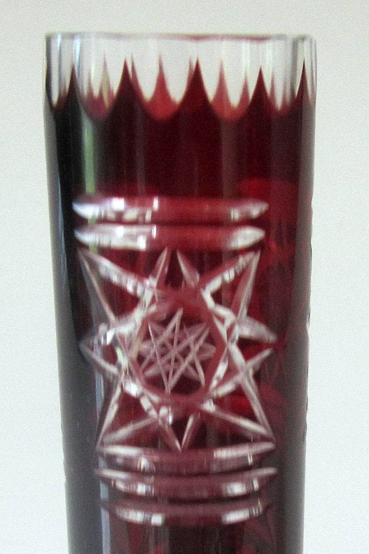 Cranberry Ruby Red Crystal Glass Cut To Clear Bud Vase Flash Brandy Snifter Star Cylinder Goblet Tumbler Shot Bohemian Germany