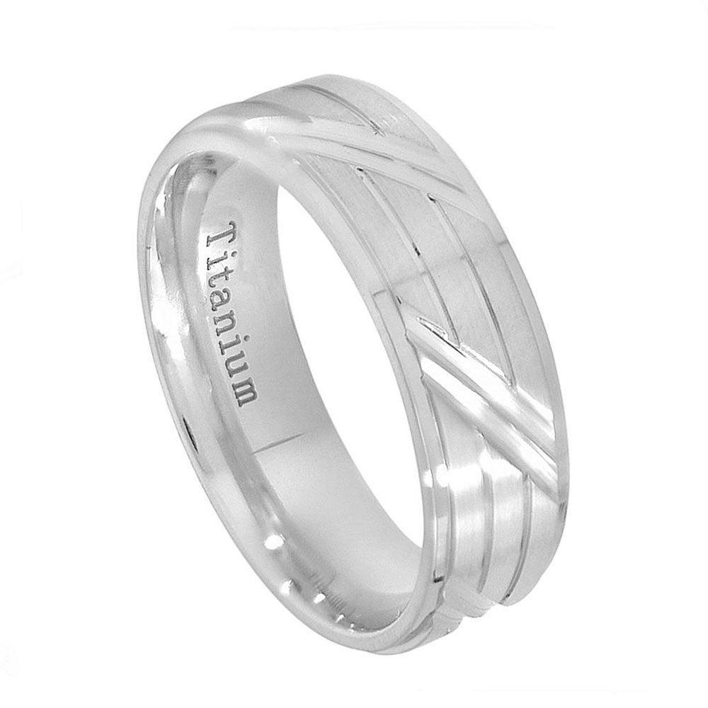 Custom Engraving 6.5mm Titanium Band White Ip Brushed With Horizontal & Diagonal Cuts Ring(Jdti651