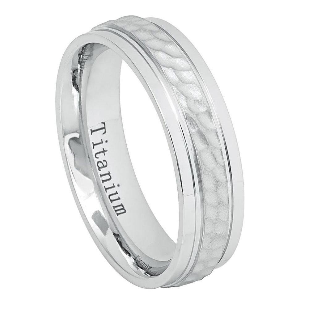Custom Engraving 6mm Titanium Band White Ip Brushed Dimpled Center Stepped Edges Ring/Gift Box(Jdti648