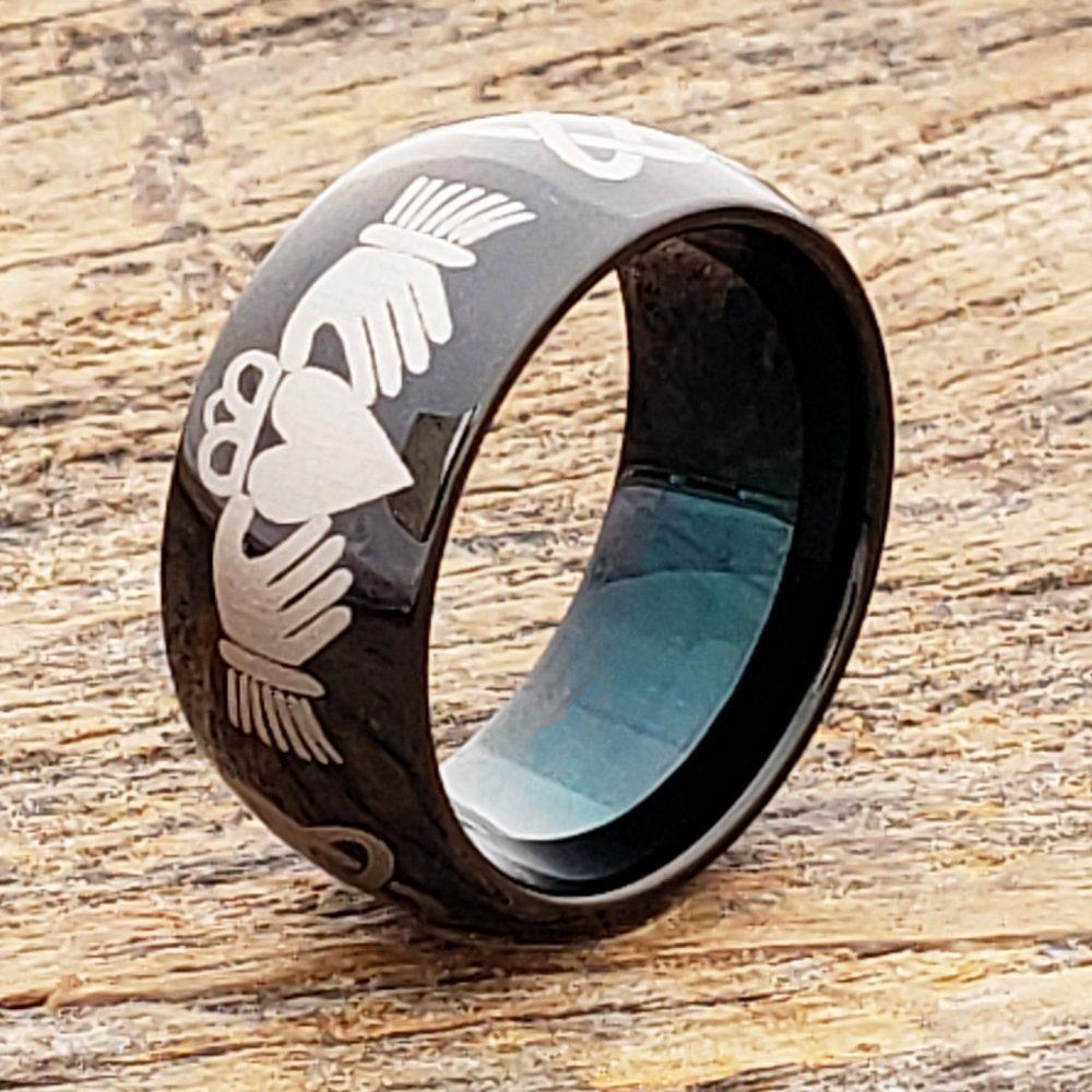 Celtic Claddagh Ring Black Tungsten Ring, Knot Wedding Band, Irish Band