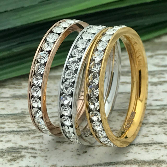 3mm Eternity Band, Yellow Gold Plated Titanium Band, Cz Band, Eternity Ring, Polished, Comfort Fit, Bridal Ring, Grooms Ring