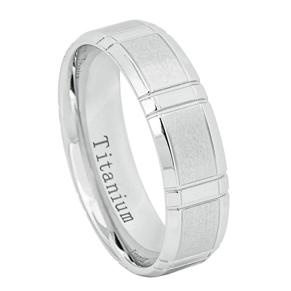 Custom Engraving 6mm Titanium Band White Ip Ring Brushed Center High Polished Beveled Edge(Jdti644