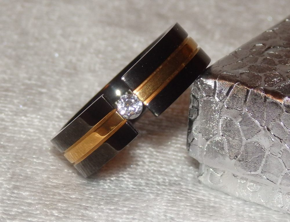 Black Titanium & Gold Tension Band Ring With Round Cz ~ Wedding 7mm Comfort Fit For That Perfect Man in Your Life