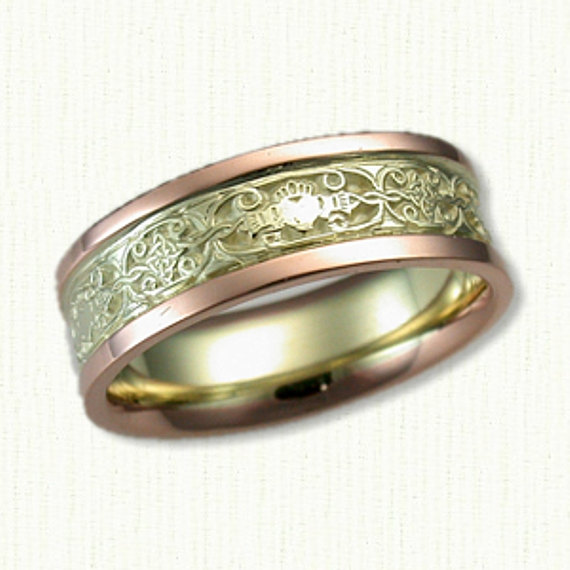 Celtic Claddagh & Mohan Knot Wedding Band -Two Tone Gold - 7mm Available in All Metals Shown in 14Kt Green & Rose