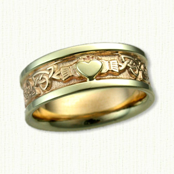 Celtic Claddagh & Triangle Knot Wedding Band With Raised Heart