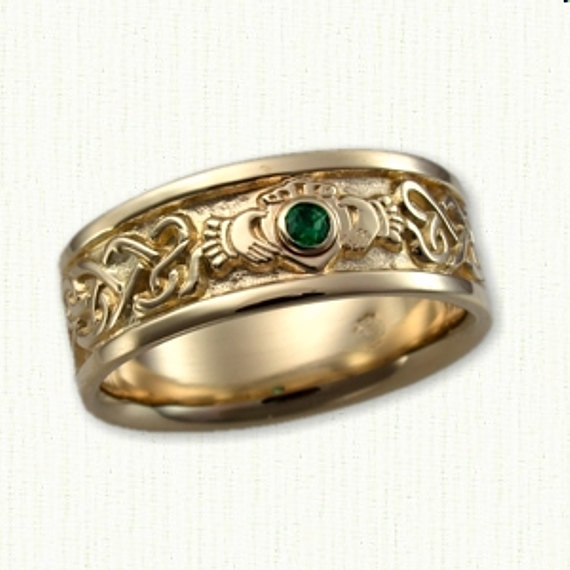 Celtic Continous Heart Claddagh Band With Chatham Emerald