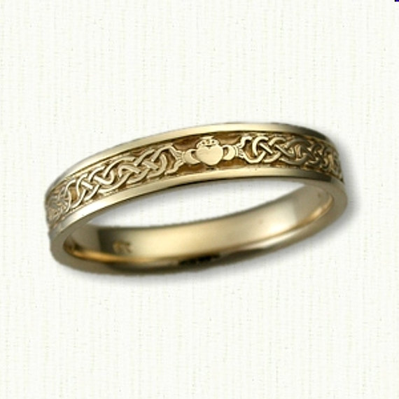 Celtic Lindesfarne Knot With Claddagh Wedding Band - 4mm -sterling Silver, 14Kt White Or Yellow Gold Narrow