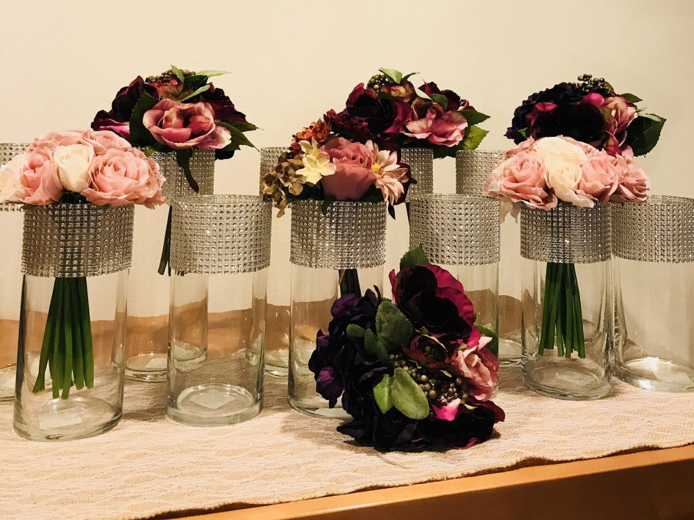12 Tall Centerpiece Cylinder Vases. Each Vase Is Beautifully Decorated With Silver, Blingy, Sparkly Rhinestone Look Mesh Wrap