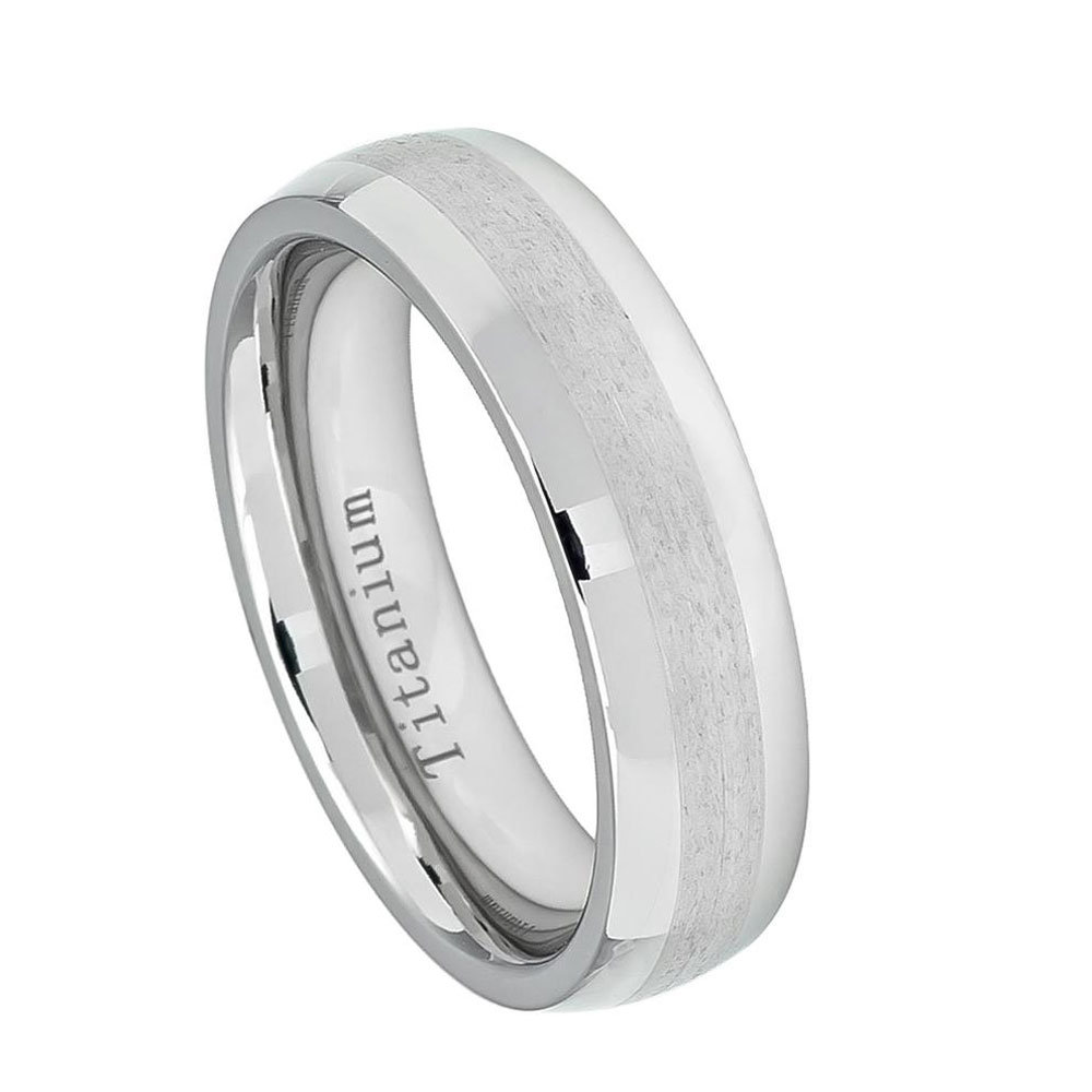 Custom Engraving 6mm Titanium Band White Ring High Polished With Brushed Center(Jdti559