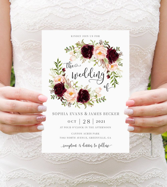Burgundy Blush Floral Invitation. Printable Rustic Wedding Elegant Merlot Marsala Invitation Template. Romantic Greenery Invite