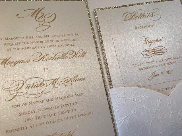 Elegant Ivory Laser Cut Wedding Invitation Set, Pocket Invitations, & Gold Wedding Invitation Set