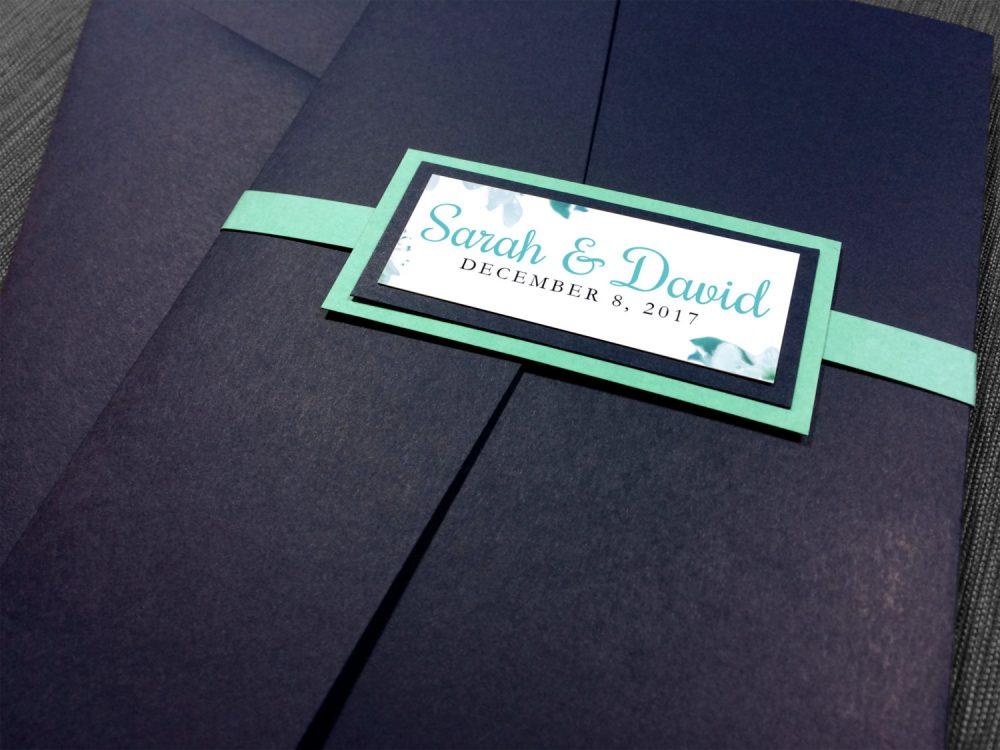 Navy & Aqua Wedding Invitations, Floral Wedding, Elegant Blue Teal Invitation