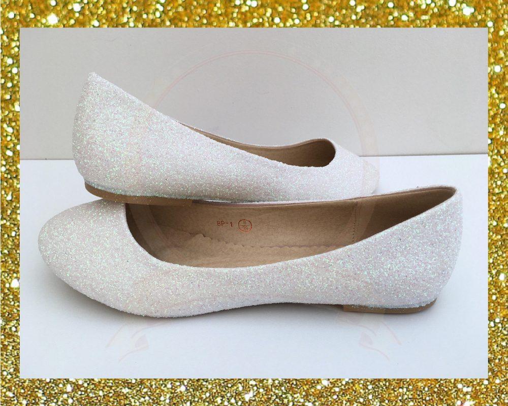White Glitter Flats, Ballet Womens Flat Shoes, Flat Shoes For Bride, Custom Glitter Wedding, Gift Her