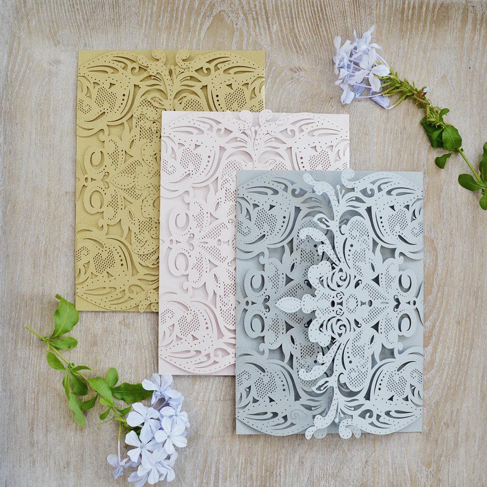 Diy Exquisite Laser Cut Gatefold Invitation - Wedding Invitations Elegant Lace Paper Invite -More Colors Available