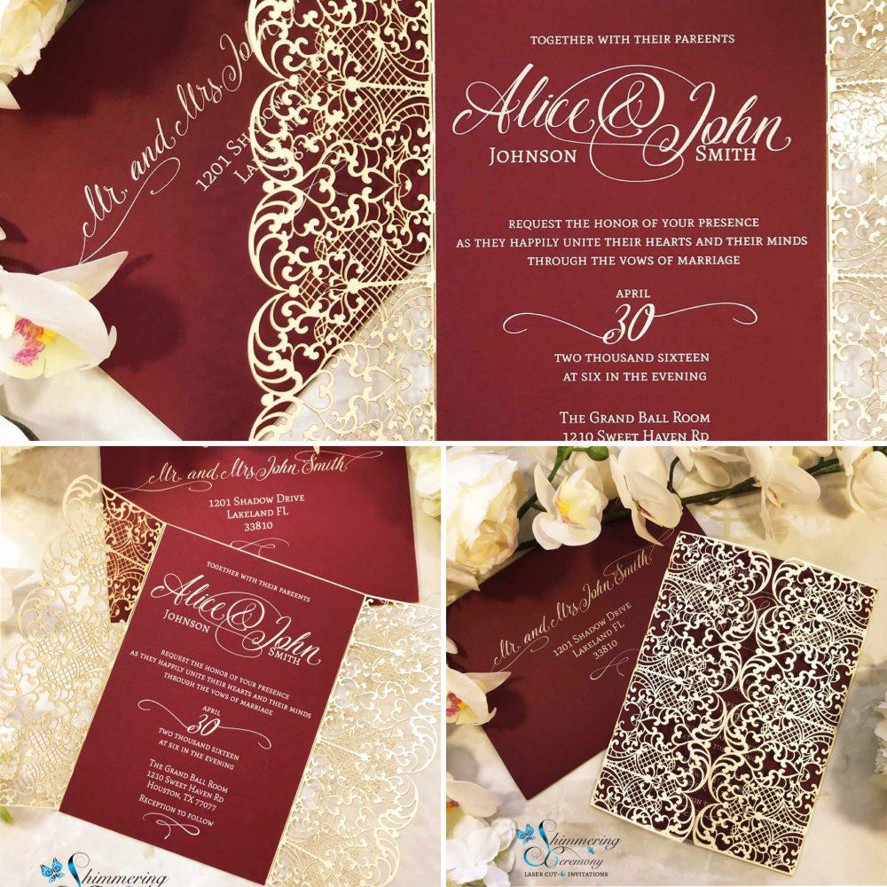 Elegant Lace Laser Cut Gatefold Traditional Wedding Invitation Vintage Filigree Invite Classic
