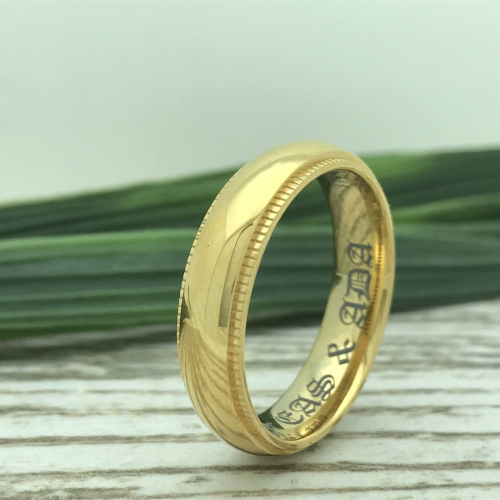 5mm Personalized Titanium Wedding Ring, Yellow Gold Plated His & Her Band, Anniversary Band