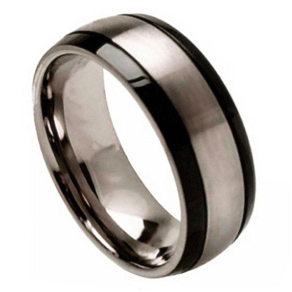 Custom Engraving 8mm Titanium Band Ring Brushed Center & Black Grooved Sides(Jdti272