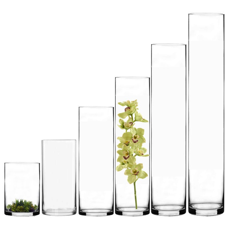 """12 Pcs Glass Cylinder Vase 4"""" Opening Hand Blown With Diameter, Six 