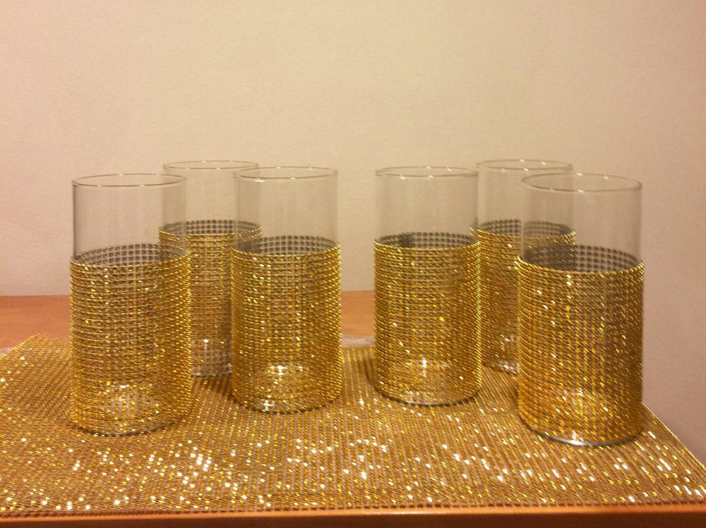7 Cylinder Vases With Bling Wrap On Bottom Of Each Vase in Your Choice Colors. Wedding Centerpieces, Shower Event Decor