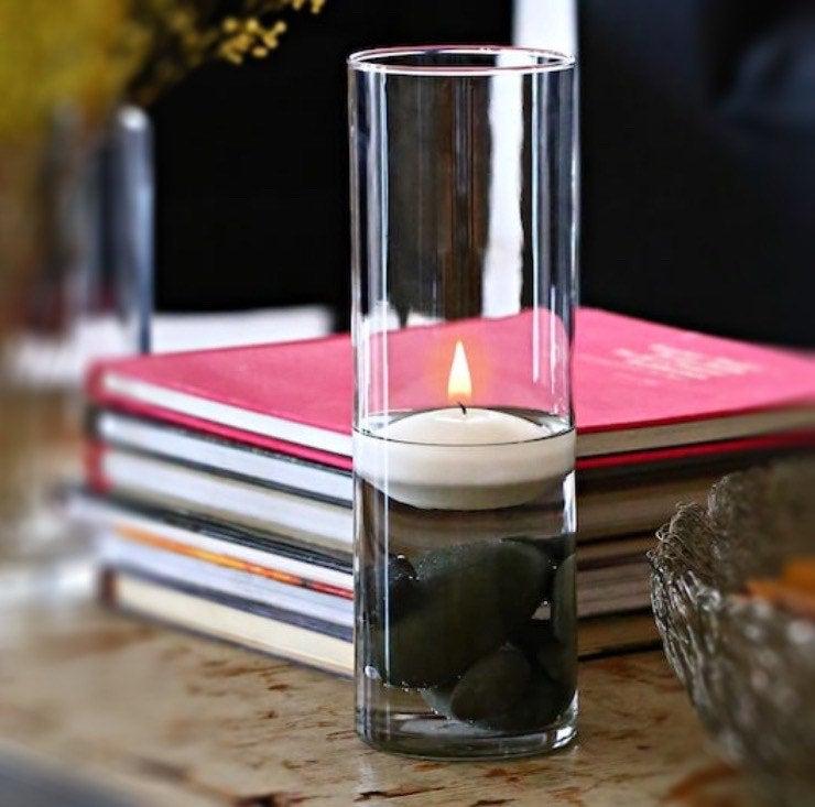 """9"""" Tall, Glass Cylinder Vase, Candle Holder, Flower Wedding Centerpiece, Home Decor, Baby Shower Baptism Vase"""