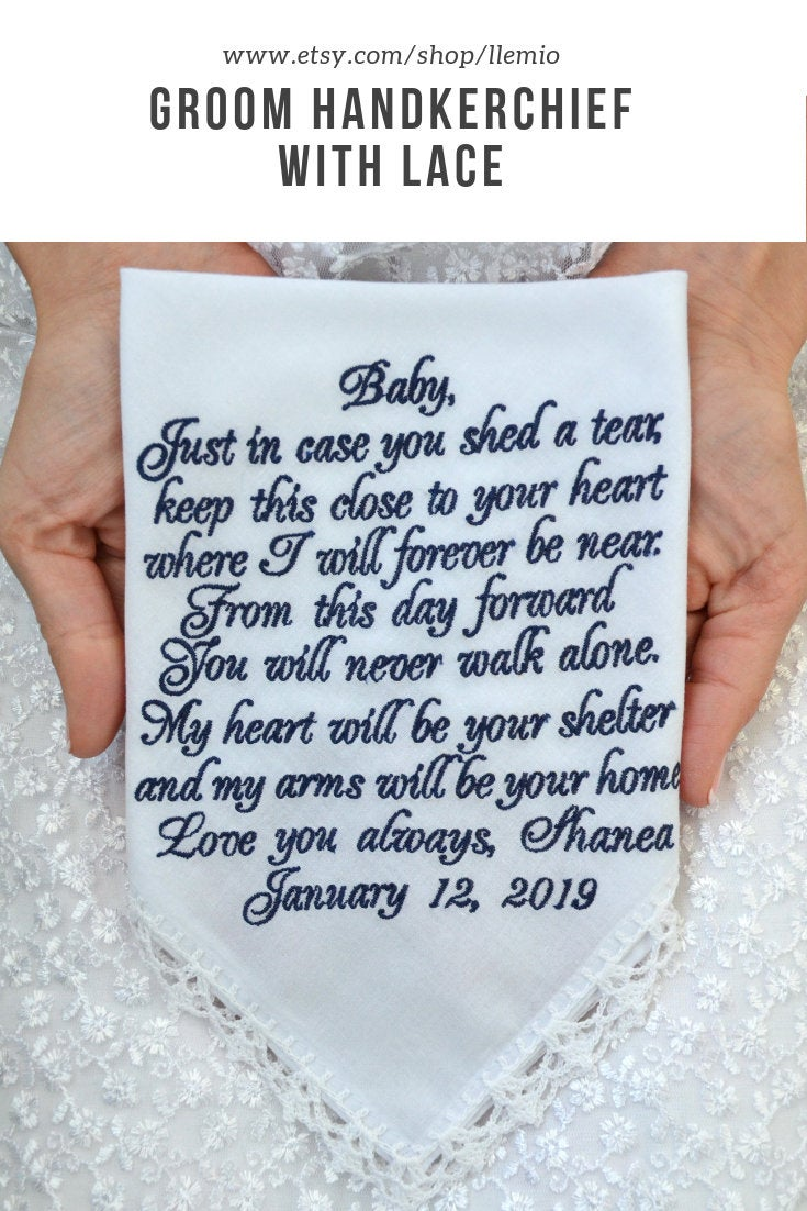 Groom Gifts From Bride Grooms Gift Handkerchief Wedding Vows For Groom Fiance Hankerchief Future Husband Poem You Will Never Walk Alone