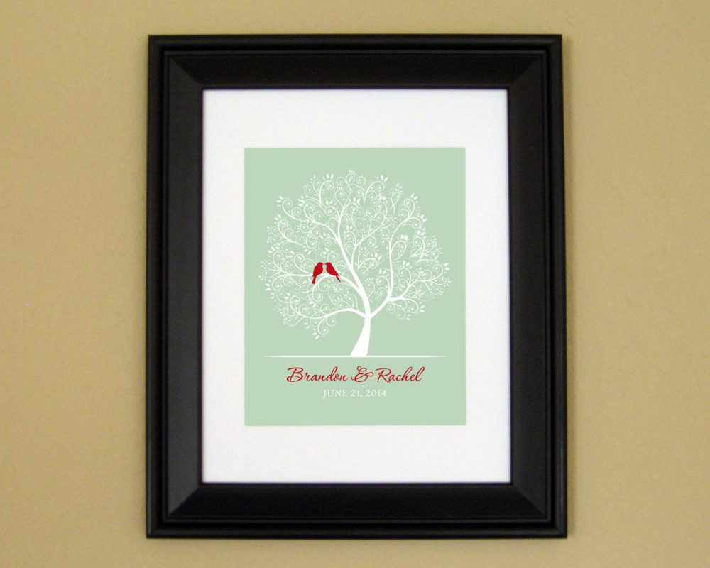 Groom Gift From Bride - For Unique Wedding Bridal Shower Love Birds in Tree 8x10 Or 11x14 Art Print
