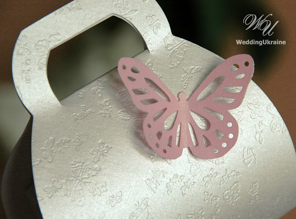 100 Wedding Favor Boxes With Butterfly - Elegant Ivory Textured Bonbonniere Weddig Candy Box Any Color Of Light Pink