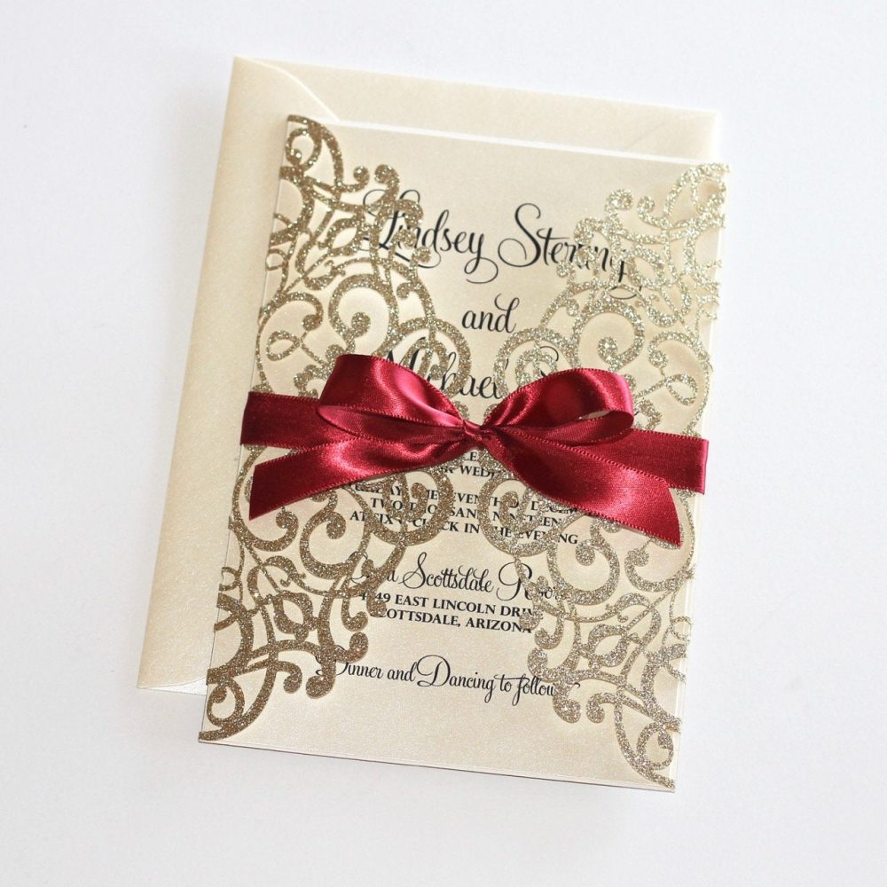 Gold Glitter Invitation | Lace Wedding Elegant Invite Laser Cut Ivory Burgundy Lindsey