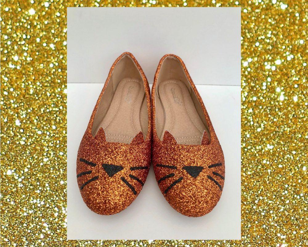 Ginger Cat Ballet Flats, Cat Glitter Shoes, Custom Cute Shoes Womens, Tom Gift, Flat For Women, Gift