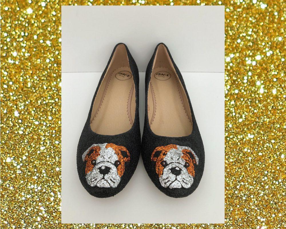 Bulldog Glitter Shoes, Pet Bulldog Glitter Pet Dog Flats, Flat Womens Ballerina Gift