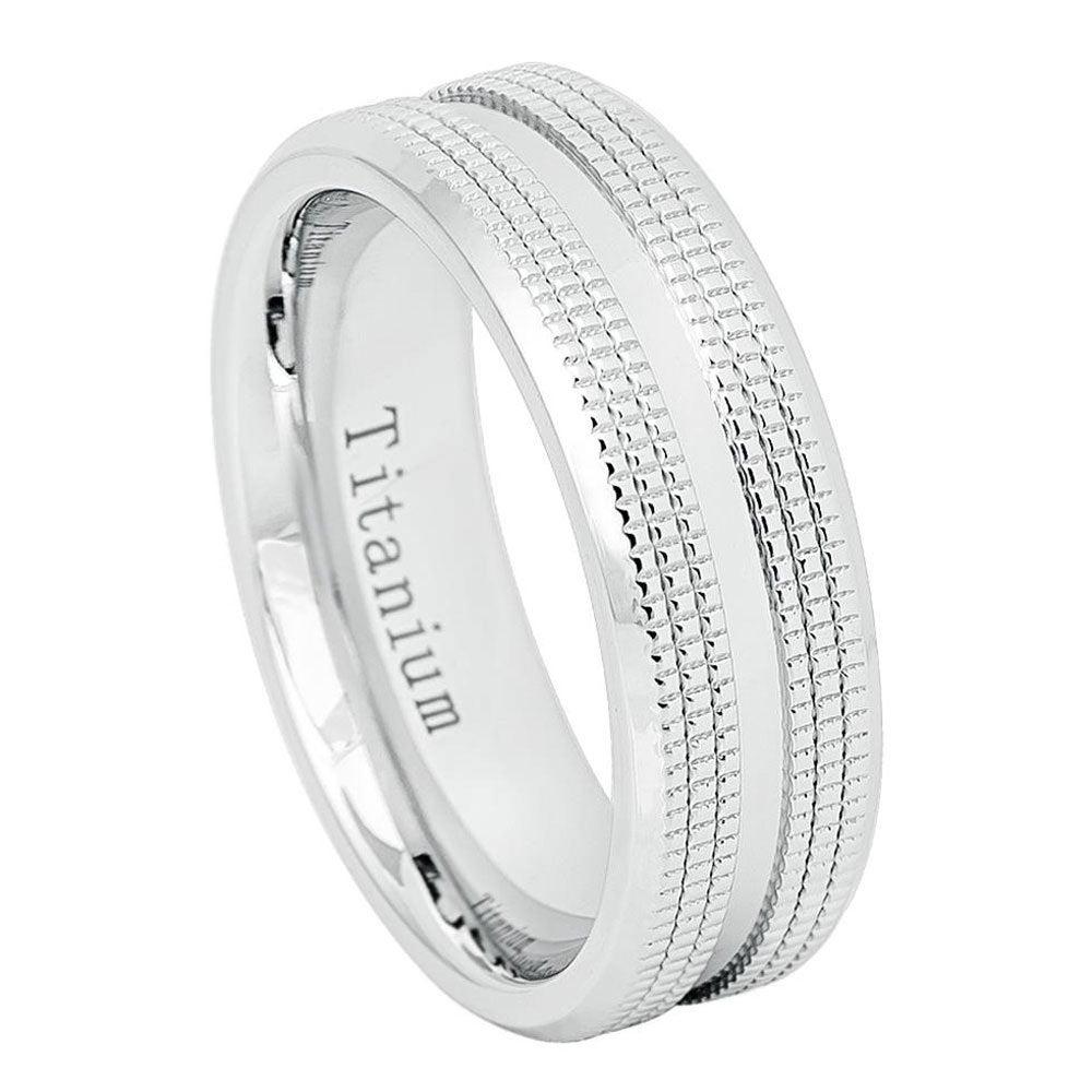 Custom Engraving 7mm Titanium Band White Ip Ring Shiny Center Double Sided Milgrain/Gift Box(Jdti656