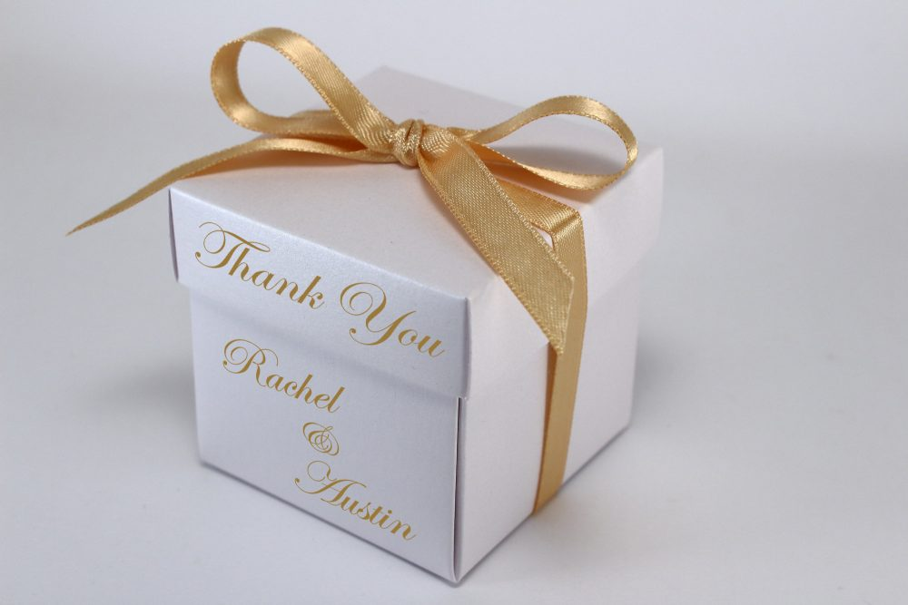 35 White Wedding Favor Boxes - Personalized Custom Text Printed Ribbon Attached Small Gift With Lids For Guests