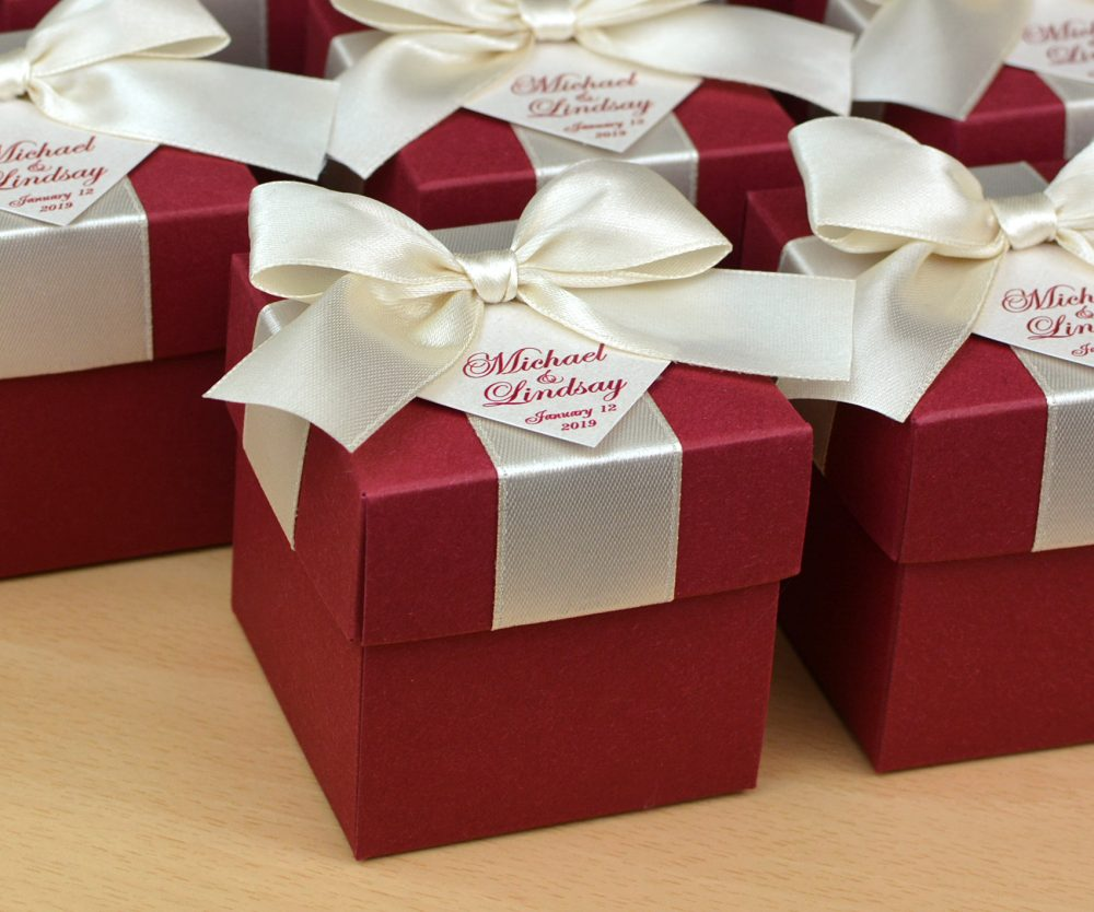 Champagne & Burgundy Wedding Favor Boxes With Satin Ribbon Bow & Personalized Tag. Elegant Wedding Candy Box, Bonbonniere
