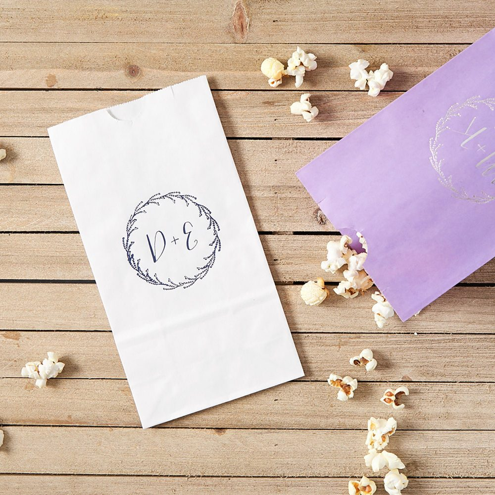 Budding Wreath With Initials Goodie Bags - Custom Party Favors, Wedding Gift Bags, Popcorn Bag, Favor, Decor