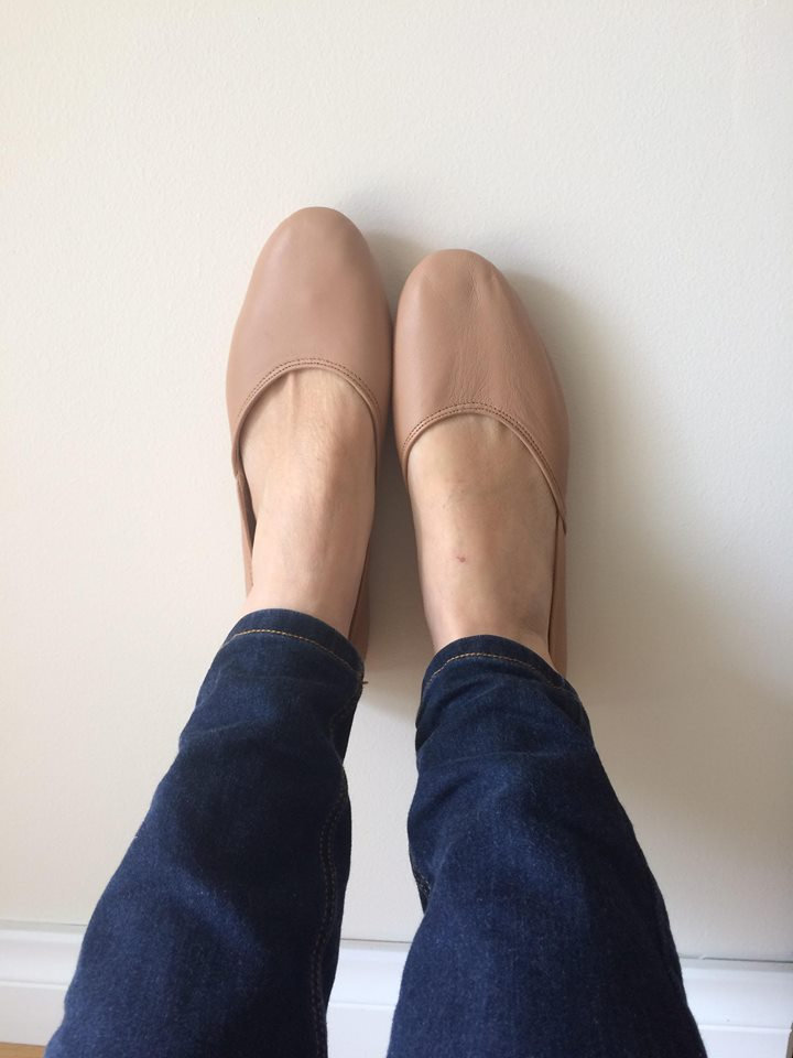 Maya. Latte Leather Ballet Flats/ Women's Shoes/ Leather. Available in Different Sizes