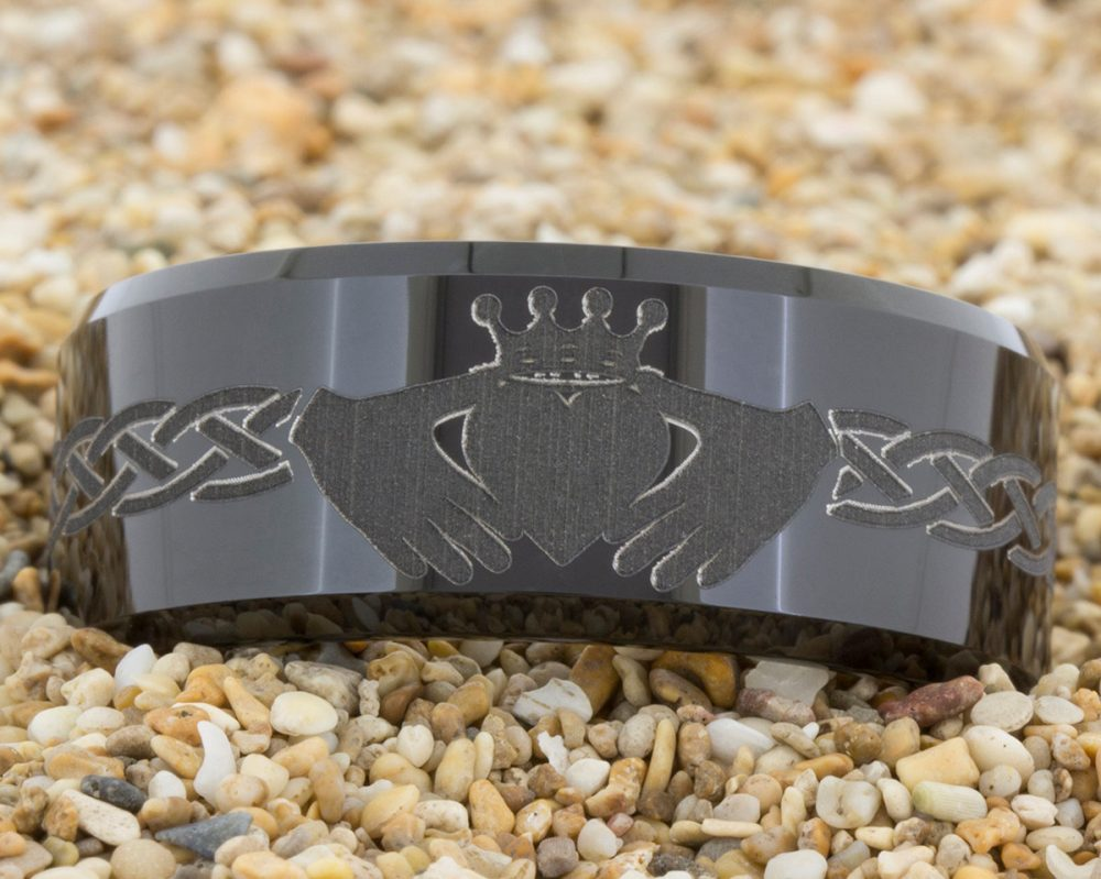 10mm Black Beveled Tungsten Carbide Band Celtic Claddagh Design Ring-Free Inside Engraving & Free Us Shipping