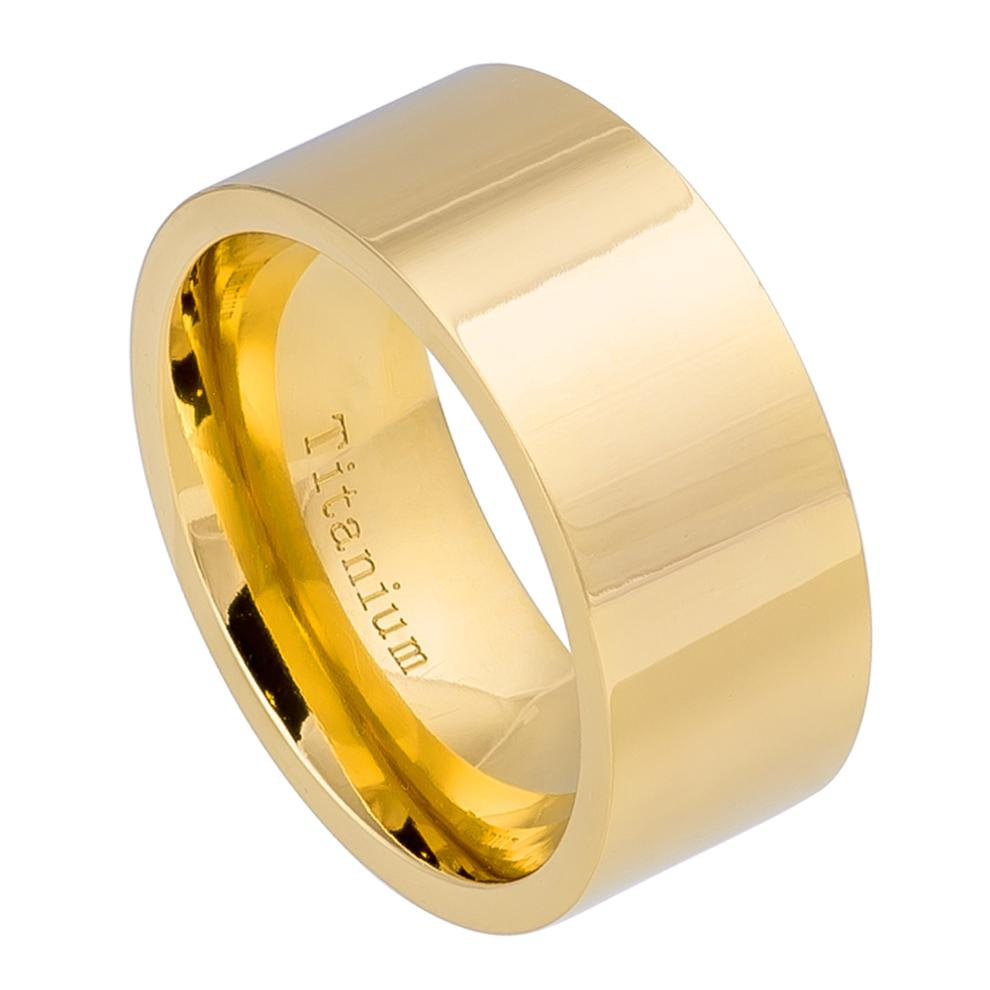 10mm Personalized Titanium Wedding Ring, Yellow Gold Plated His & Her Band, Father's Day Gift Free Engraving