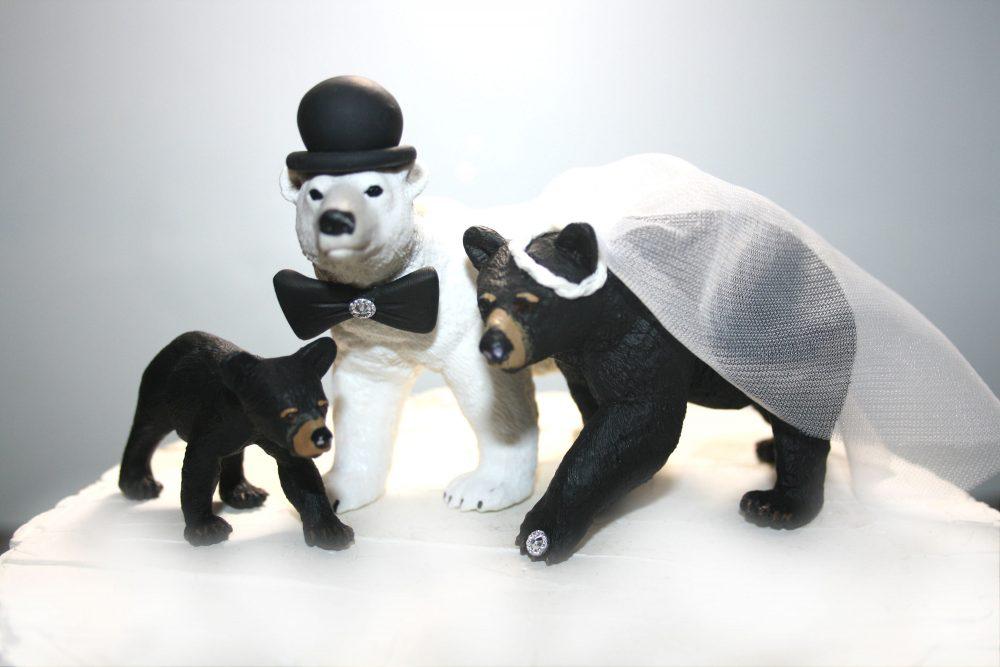 Family Wedding Cake Topper - Bears Children Weddings Toppers Bride, Groom & Custom Mom Dad Child Blended
