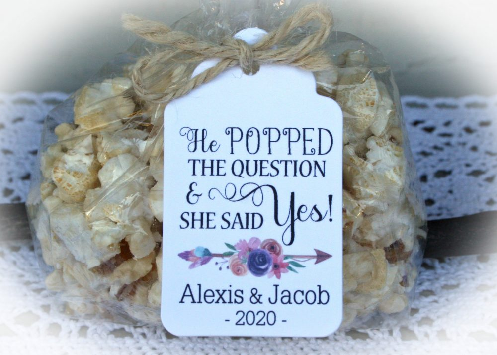 Bridal Shower Popcorn Favor Kits-2 Tag Colors | Favor-Tags Only Or Diy Bags/Favor Tags & Tie, He Popped The Question-Baglge
