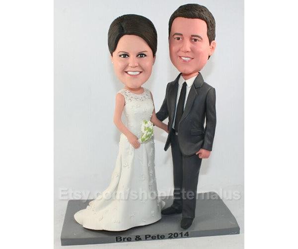 Bride & Groom Custom Cake Topper Form Your Photo Figurine , From Ideas Polymer Clay Figurine, Wedding Cake Topper