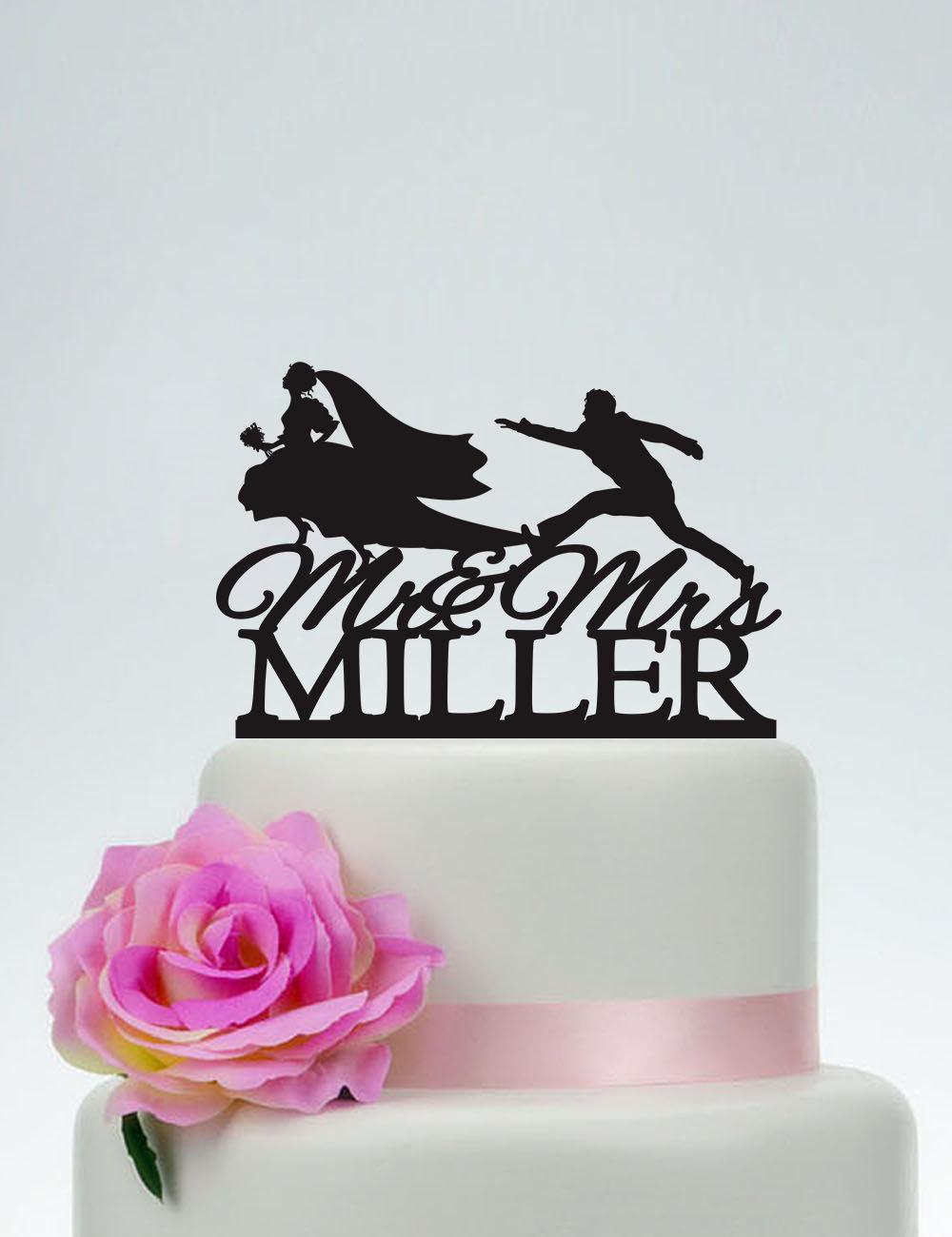 Bride & Groom Running Cake Topper, Runaway Bride, Funny Wedding Topper, Cake Topper With Last Name, Custom Mr Mrs C157